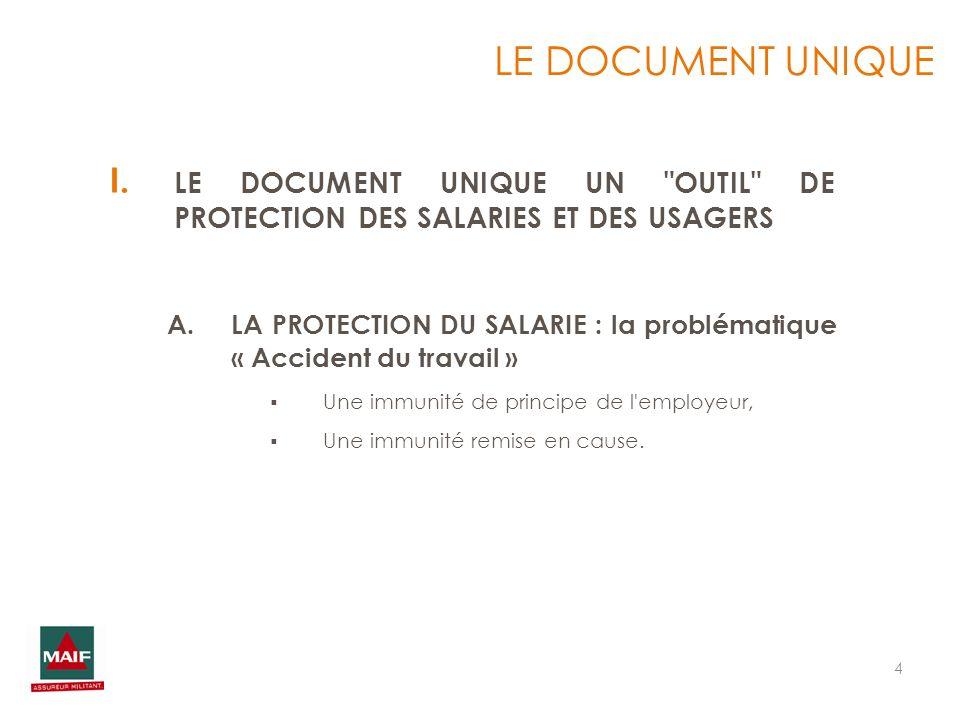 LE DOCUMENT UNIQUE LE DOCUMENT UNIQUE UN OUTIL DE PROTECTION DES SALARIES ET DES USAGERS.