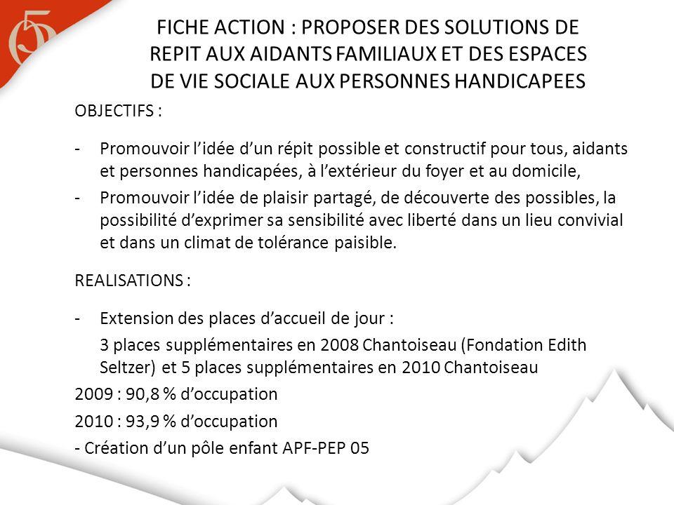 FICHE ACTION : PROPOSER DES SOLUTIONS DE REPIT AUX AIDANTS FAMILIAUX ET DES ESPACES DE VIE SOCIALE AUX PERSONNES HANDICAPEES