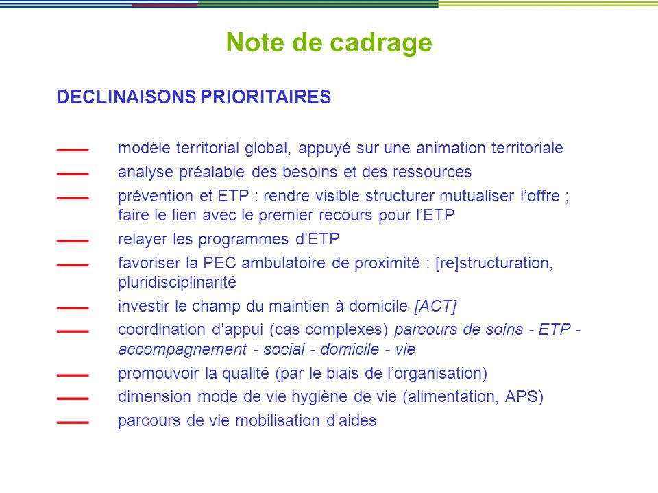 Note de cadrage DECLINAISONS PRIORITAIRES
