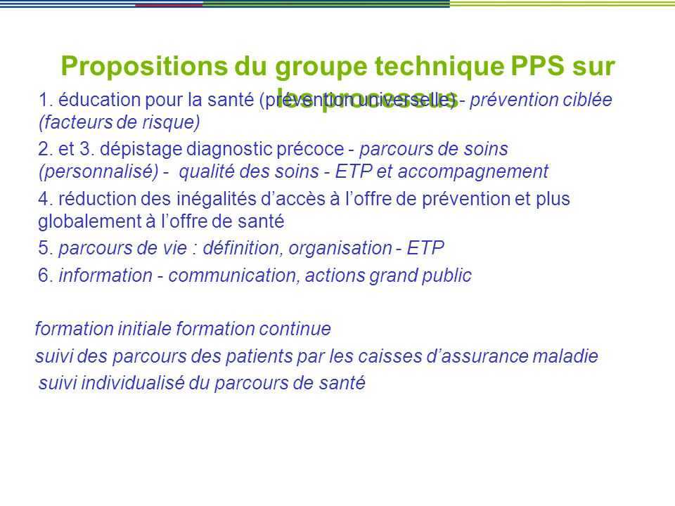 Propositions du groupe technique PPS sur les processus
