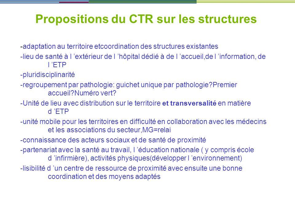Propositions du CTR sur les structures
