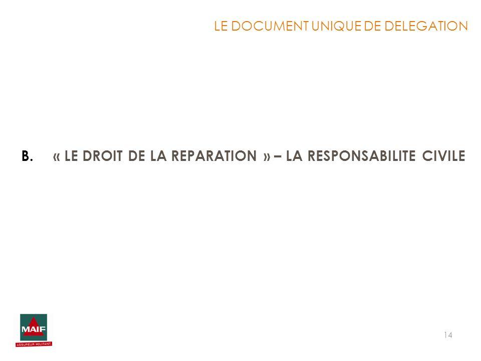 « LE DROIT DE LA REPARATION » – LA RESPONSABILITE CIVILE