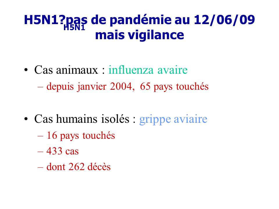 H5N1 pas de pandémie au 12/06/09 mais vigilance