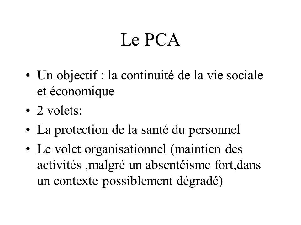 Le PCA Un objectif : la continuité de la vie sociale et économique