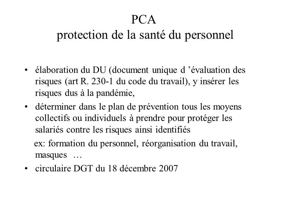 PCA protection de la santé du personnel