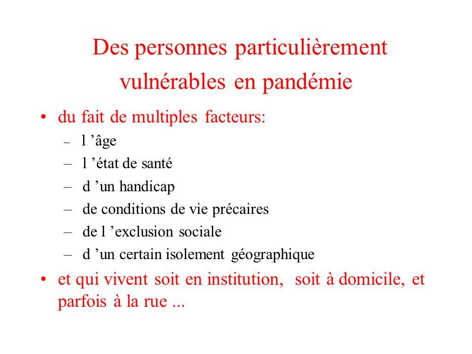 Des personnes particulièrement vulnérables en pandémie