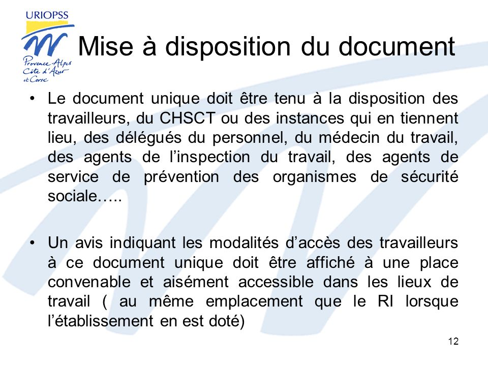 Mise à disposition du document