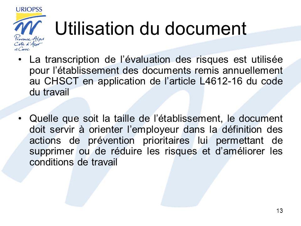 Utilisation du document