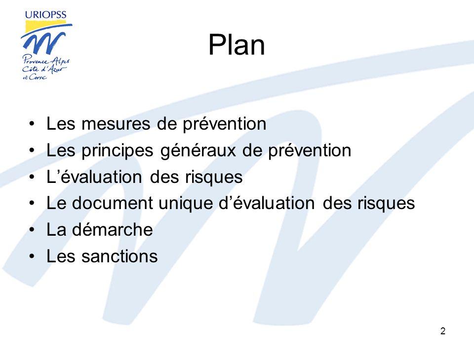 Plan Les mesures de prévention Les principes généraux de prévention
