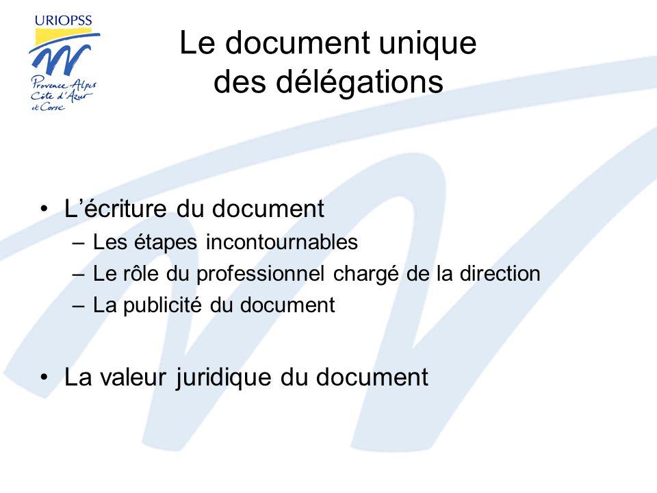 Le document unique des délégations
