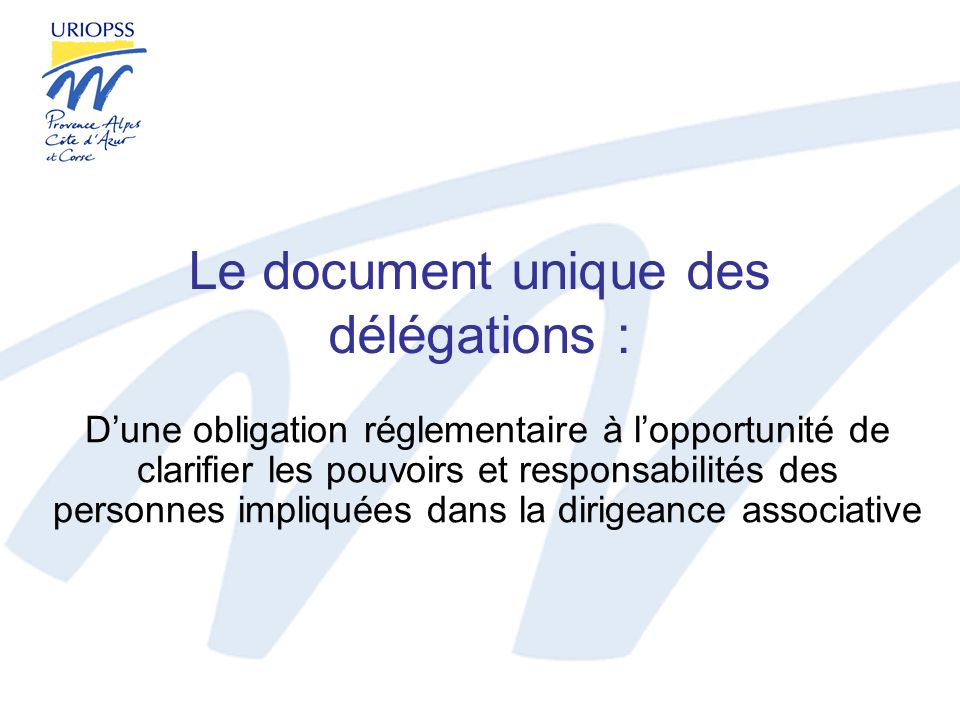 Le document unique des délégations :