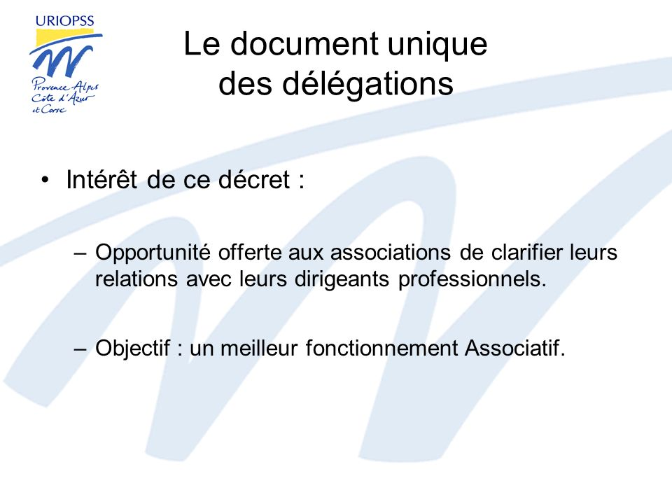 Le document unique des délégations