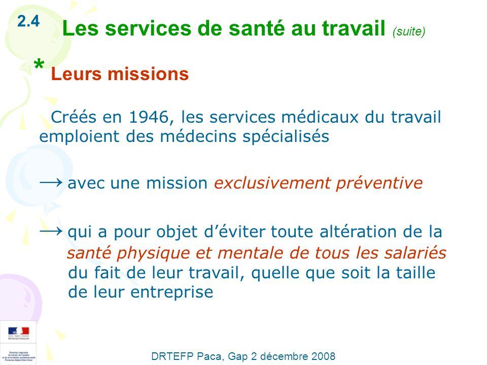* Leurs missions Les services de santé au travail (suite) 2.4