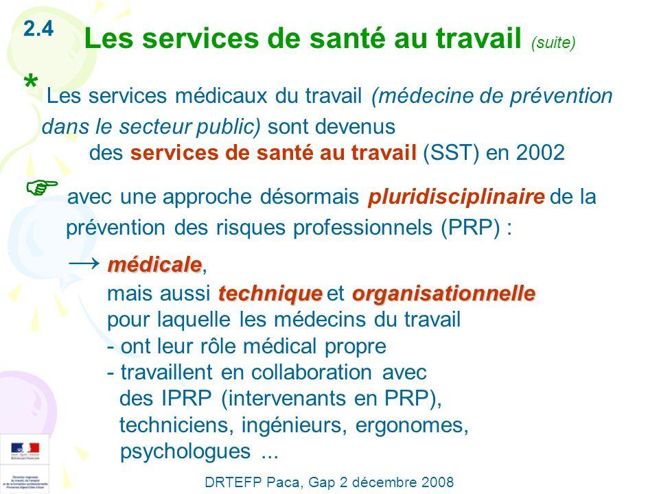 * Les services médicaux du travail (médecine de prévention