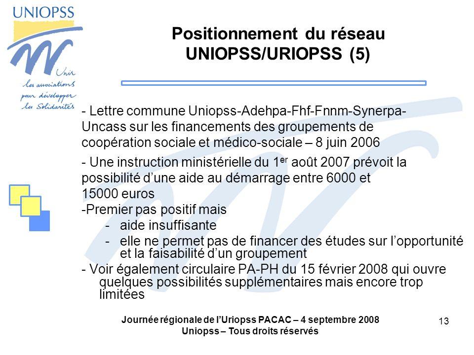 Positionnement du réseau UNIOPSS/URIOPSS (5)