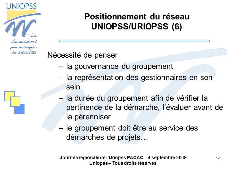 Positionnement du réseau UNIOPSS/URIOPSS (6)