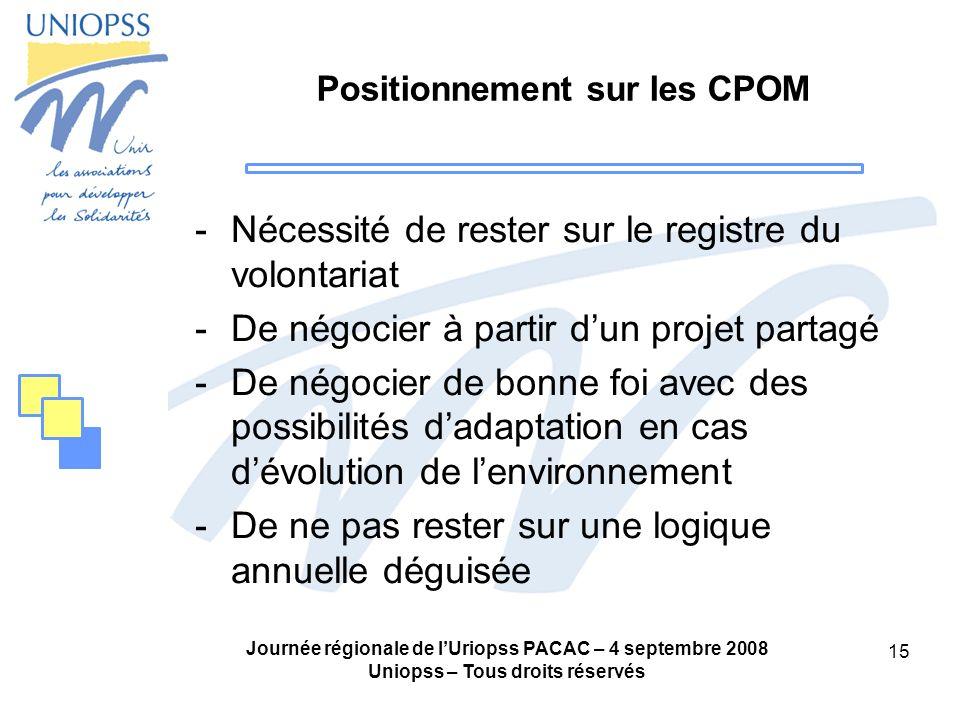 Positionnement sur les CPOM