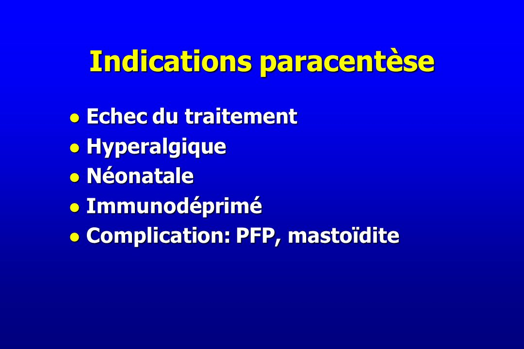 Indications paracentèse
