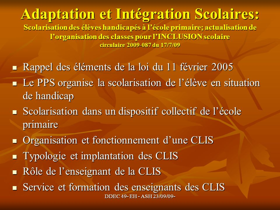 Adaptation et Intégration Scolaires: Scolarisation des élèves handicapés à l'école primaire; actualisation de l'organisation des classes pour l'INCLUSION scolaire circulaire 2009-087 du 17/7/09