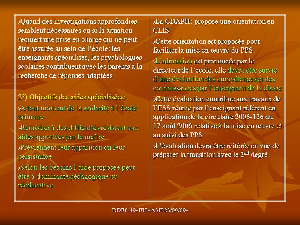 2°) Objectifs des aides spécialisées: