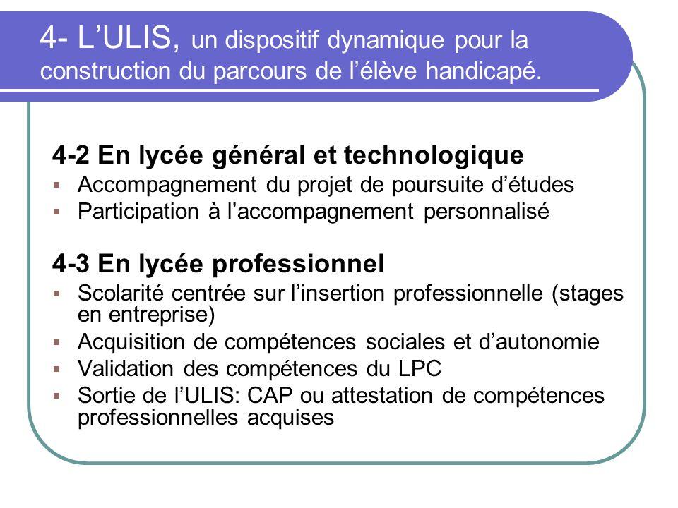 4- L'ULIS, un dispositif dynamique pour la construction du parcours de l'élève handicapé.