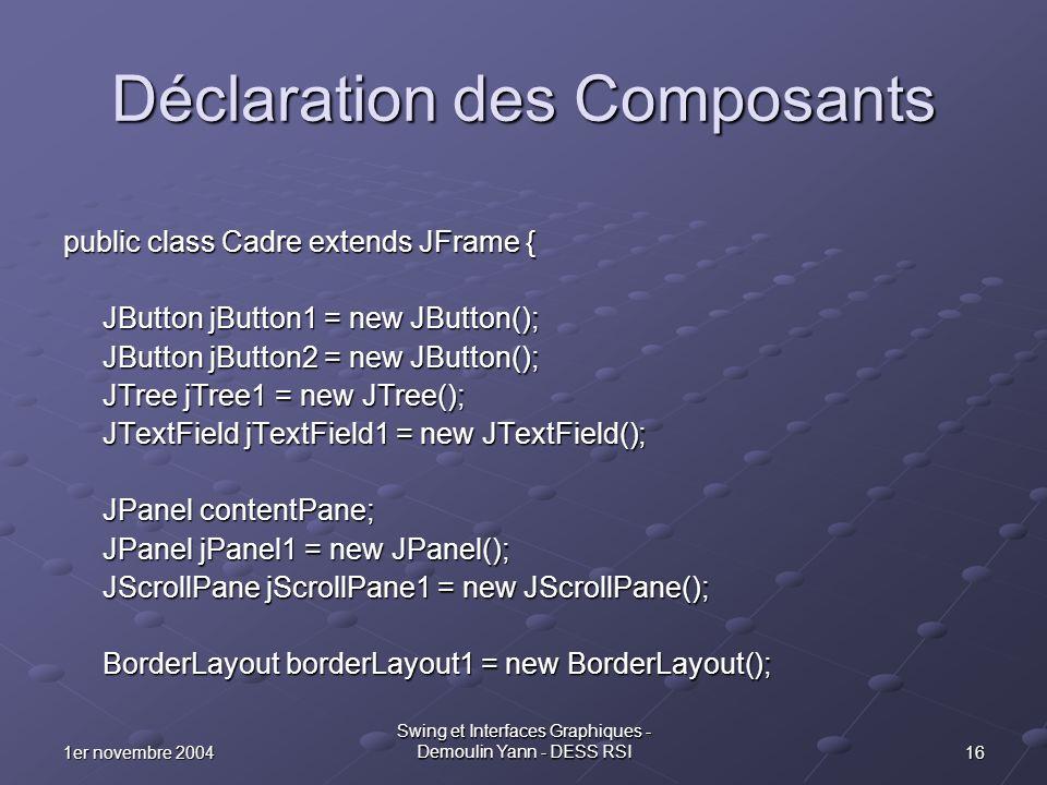 Déclaration des Composants