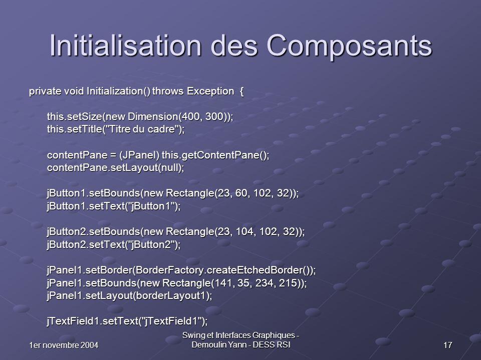 Initialisation des Composants