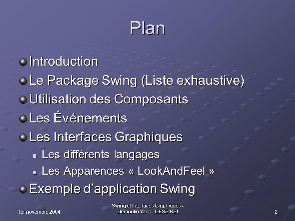 Swing et Interfaces Graphiques - Demoulin Yann - DESS RSI