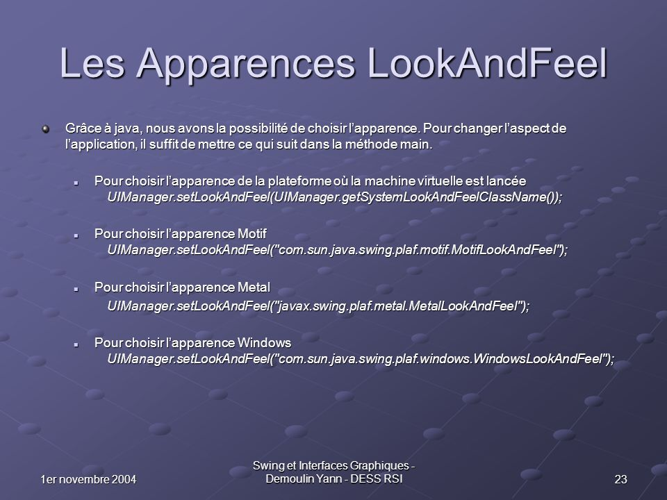 Les Apparences LookAndFeel