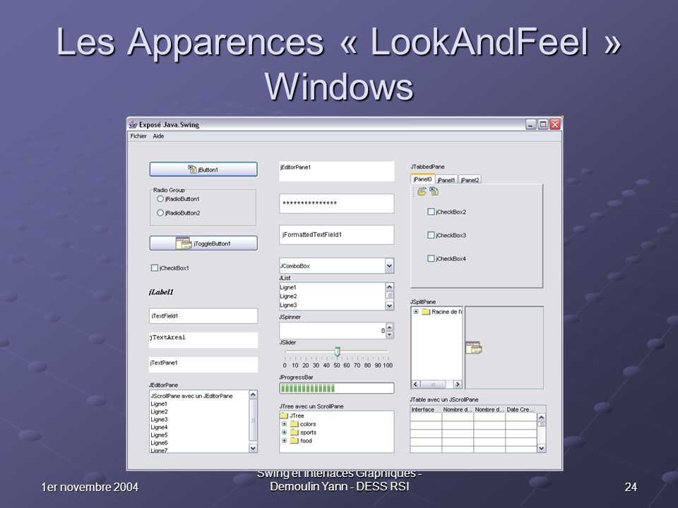 Les Apparences « LookAndFeel » Windows
