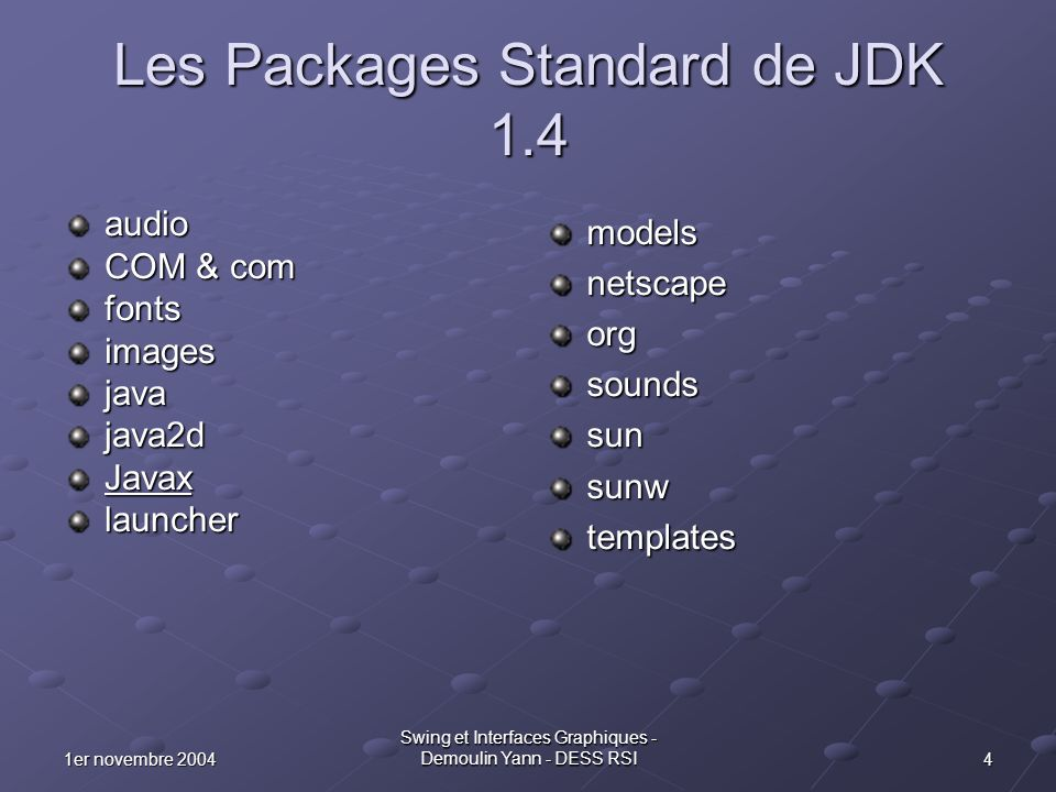 Les Packages Standard de JDK 1.4