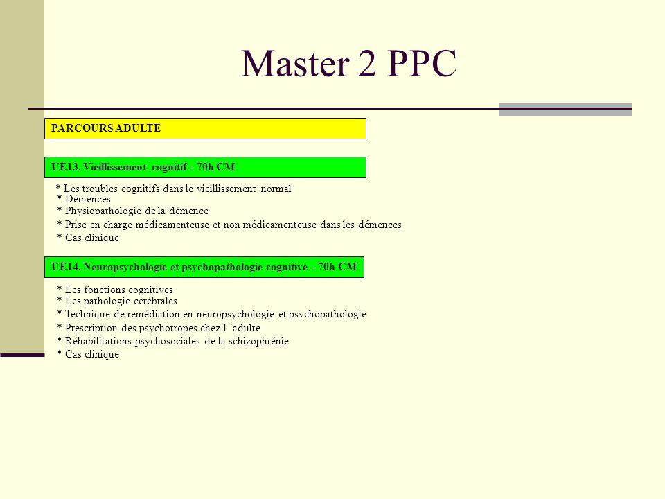 Master 2 PPC PARCOURS ADULTE UE13. Vieillissement cognitif - 70h CM
