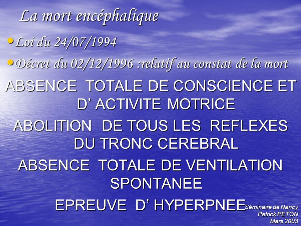 La mort encéphalique Loi du 24/07/1994