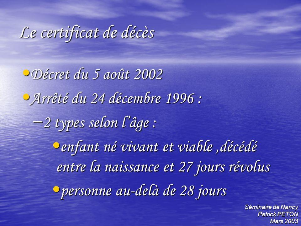 Le certificat de décès Décret du 5 août 2002