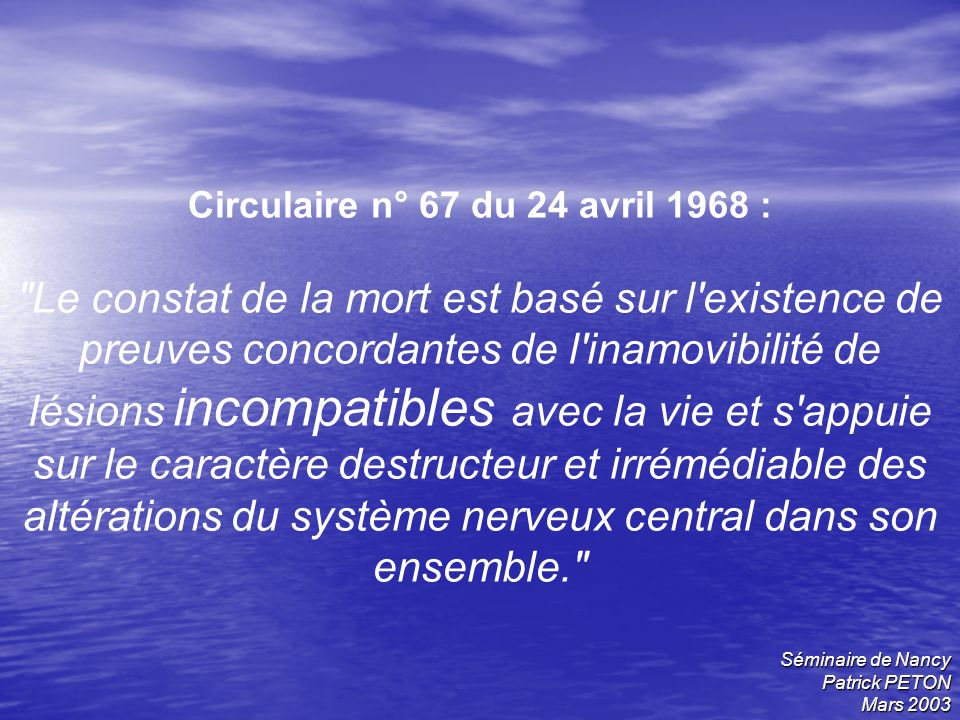 Circulaire n° 67 du 24 avril 1968 :