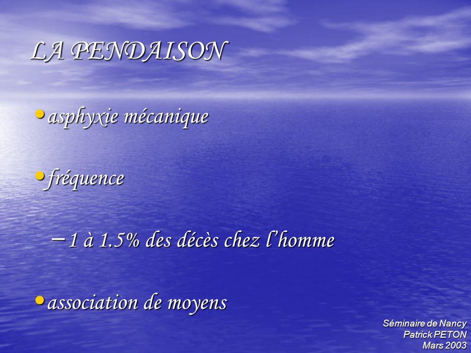 LA PENDAISON asphyxie mécanique fréquence
