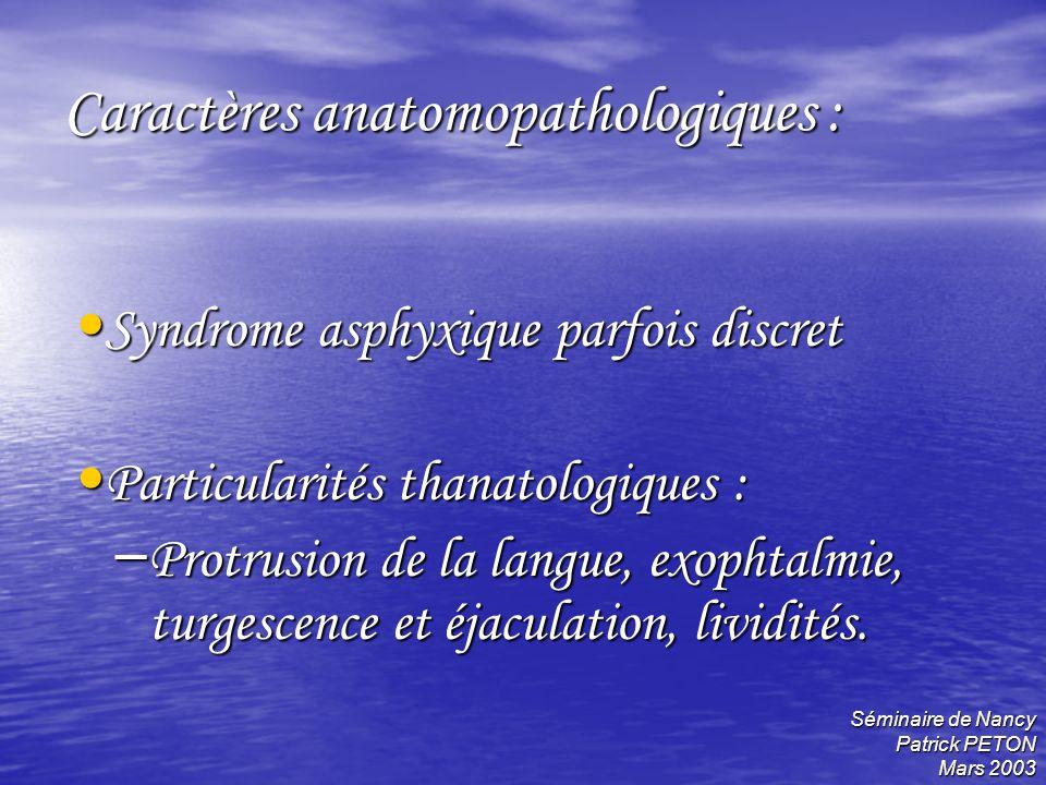 Caractères anatomopathologiques :