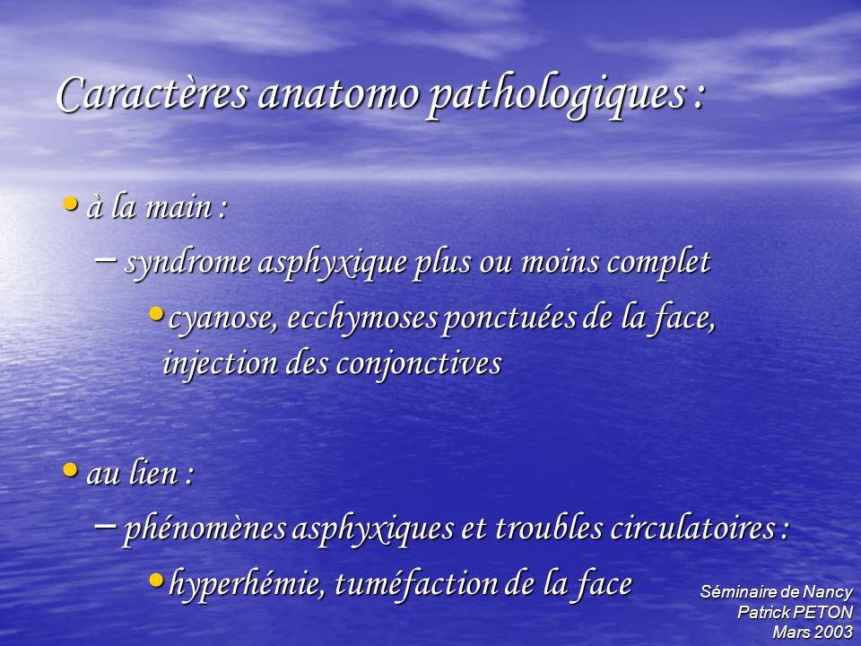 Caractères anatomo pathologiques :