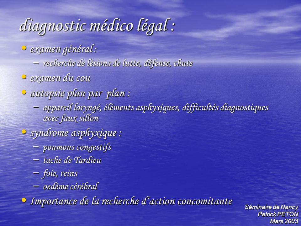 diagnostic médico légal :
