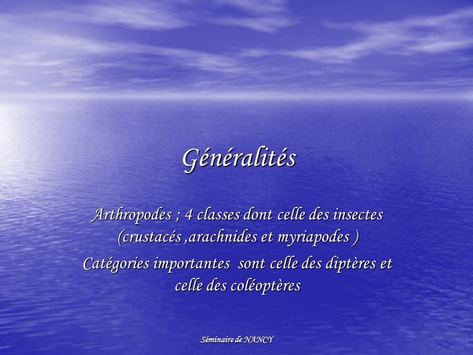 Généralités Arthropodes ; 4 classes dont celle des insectes (crustacés ,arachnides et myriapodes )