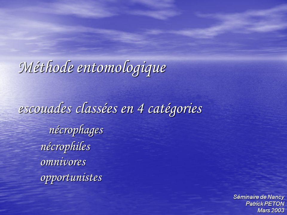 Méthode entomologique escouades classées en 4 catégories nécrophages nécrophiles omnivores opportunistes