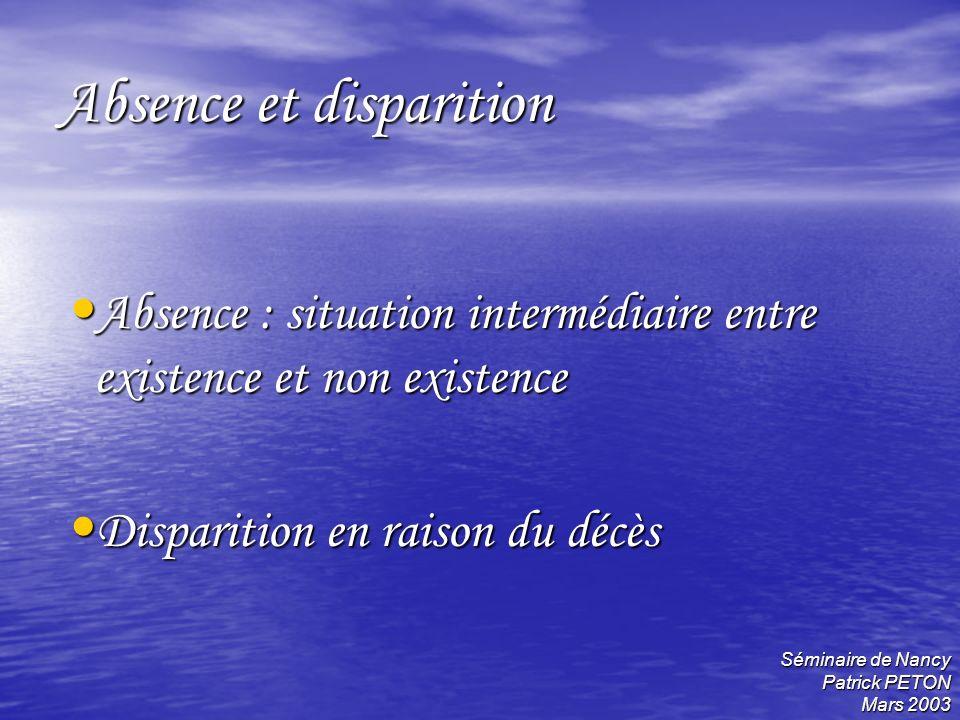 Absence et disparition