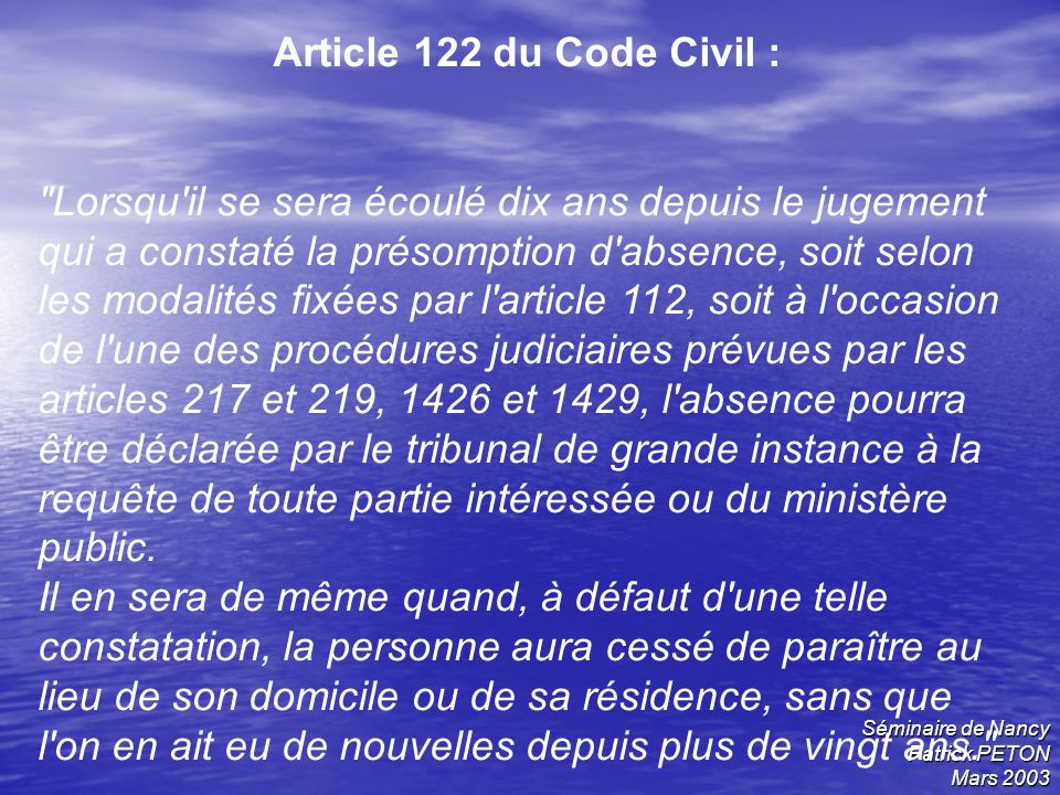 Article 122 du Code Civil :