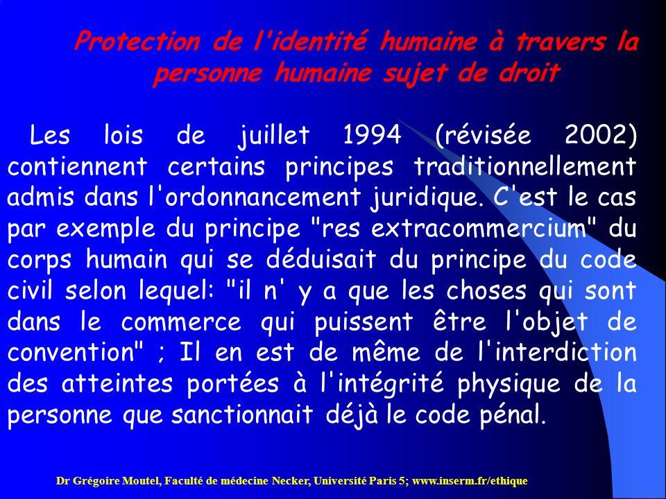 Protection de l identité humaine à travers la personne humaine sujet de droit