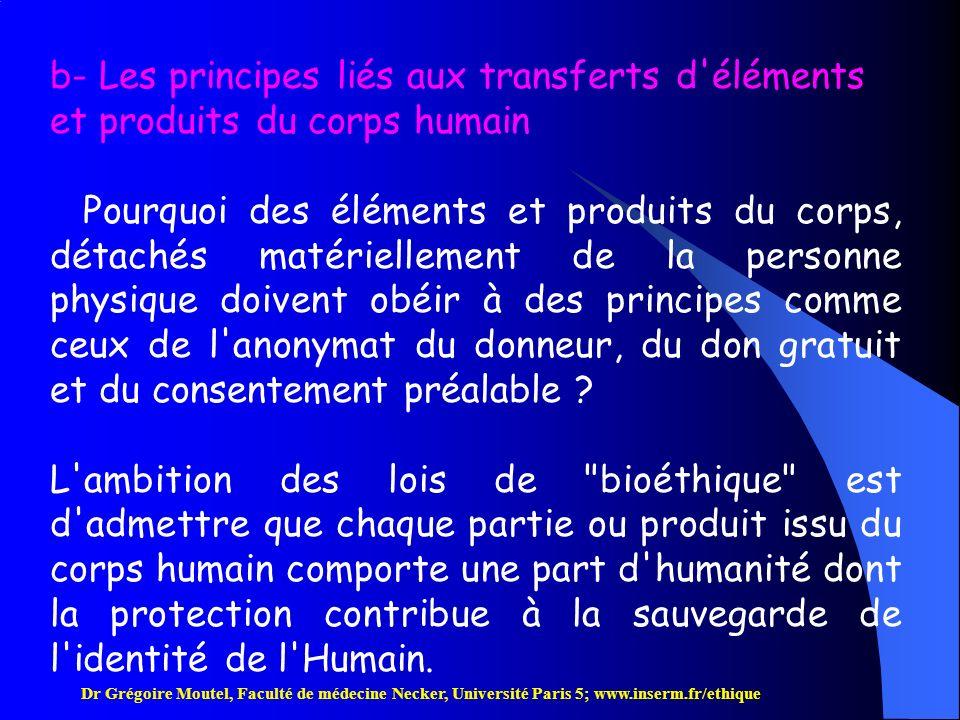 b- Les principes liés aux transferts d éléments et produits du corps humain