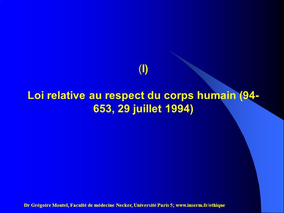 Loi relative au respect du corps humain (94-653, 29 juillet 1994)