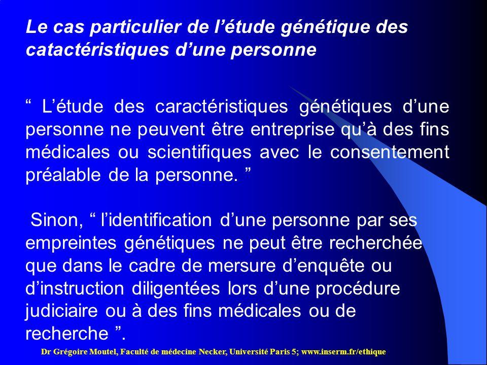 Le cas particulier de l'étude génétique des catactéristiques d'une personne