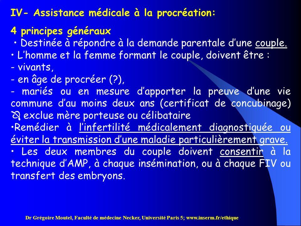 IV- Assistance médicale à la procréation: 4 principes généraux