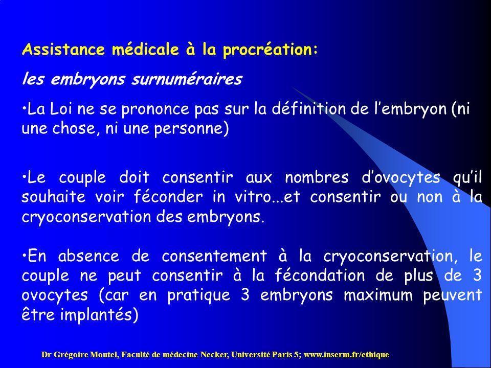 Assistance médicale à la procréation: les embryons surnuméraires