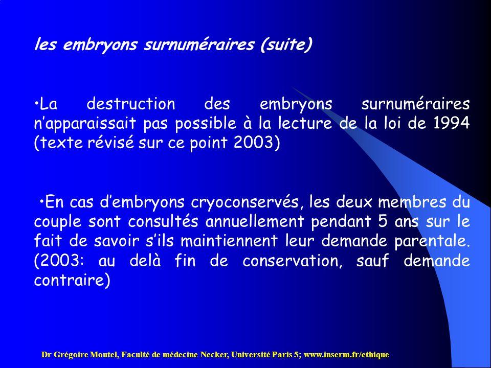 les embryons surnuméraires (suite)